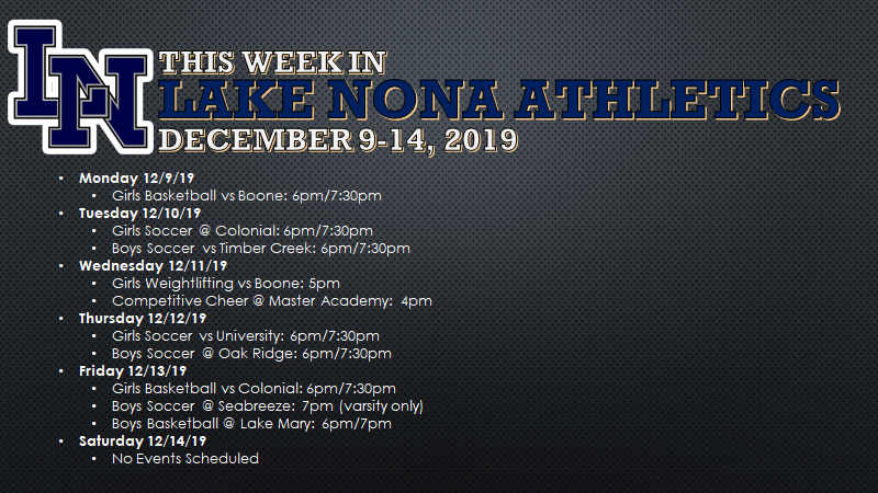 This Week in Lake Nona Athletics: December 9-14, 2019