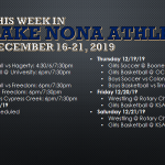 This Week in Lake Nona Athletics: December 16-21, 2019