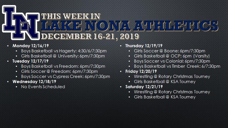 This Week in Lake Nona Athletics: December 16-21, 2019