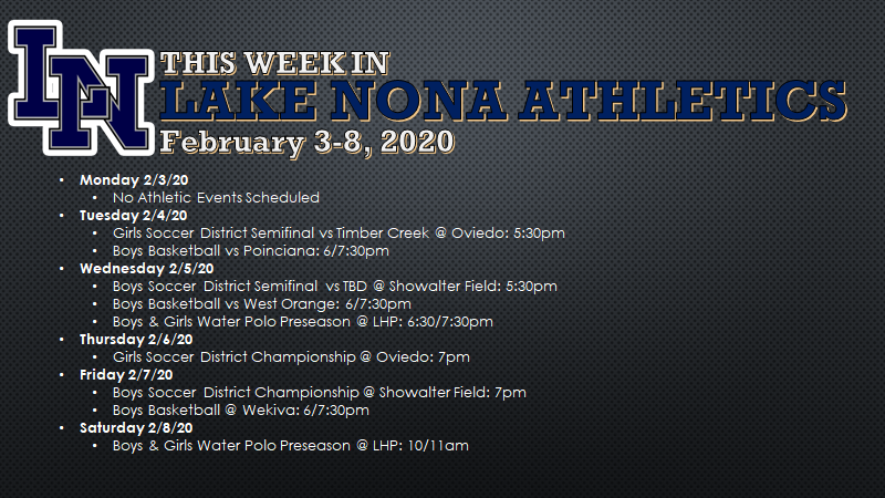 This Week in Lake Nona Athletics: February 3-8, 2020