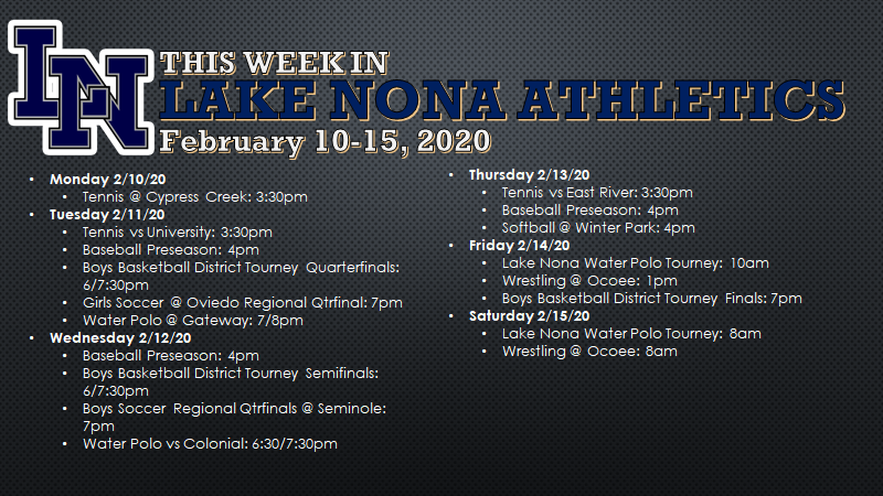 This Week in Lake Nona Athletics: February 10-15, 2020
