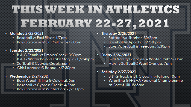 This Week in Athletics: February 22-27, 2021