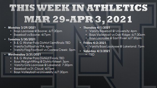 All Teams Schedule: Week of Mar 29 – Apr 04