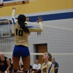 Volleyball player about to hit ball