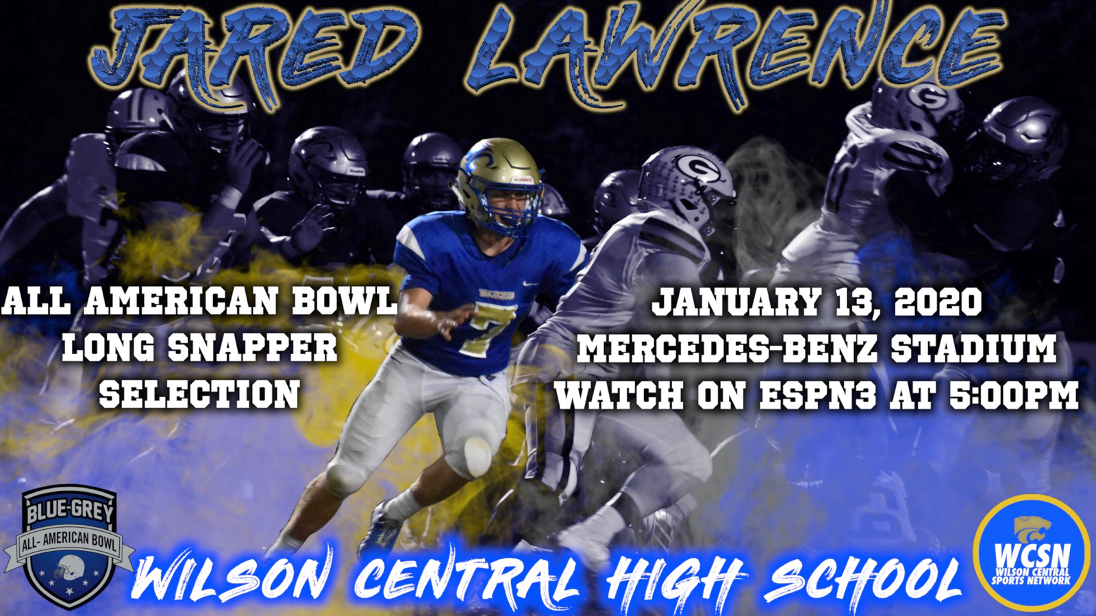 Fall-Football–5-Star Long Snapper Jared Lawrence Selected to Play in All American Bowl