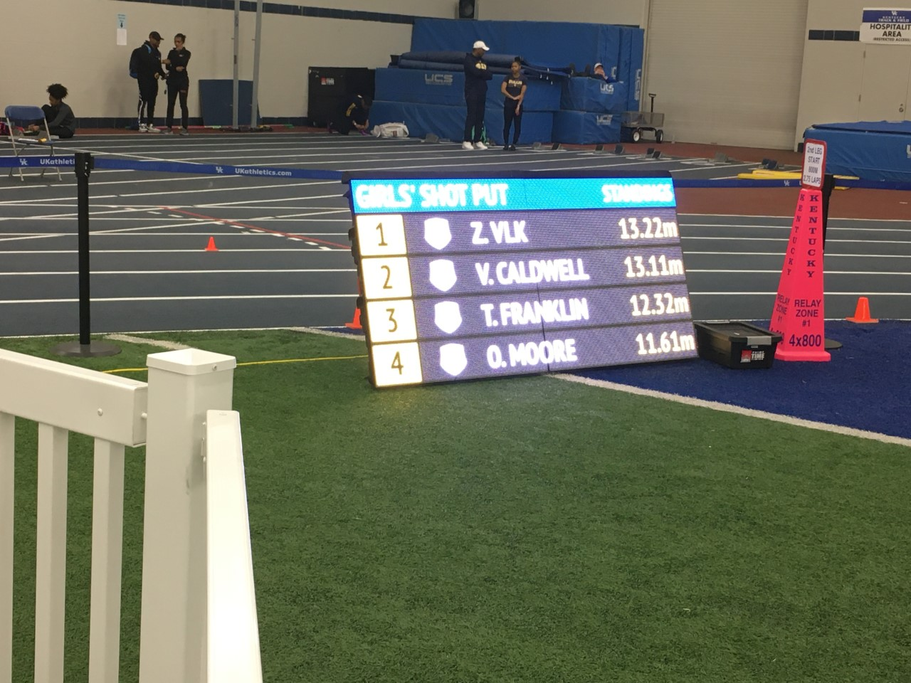 Winter– Indoor Track and Field–Big Competition at the  Univ. Kentucky HS Invitational on February 15th.