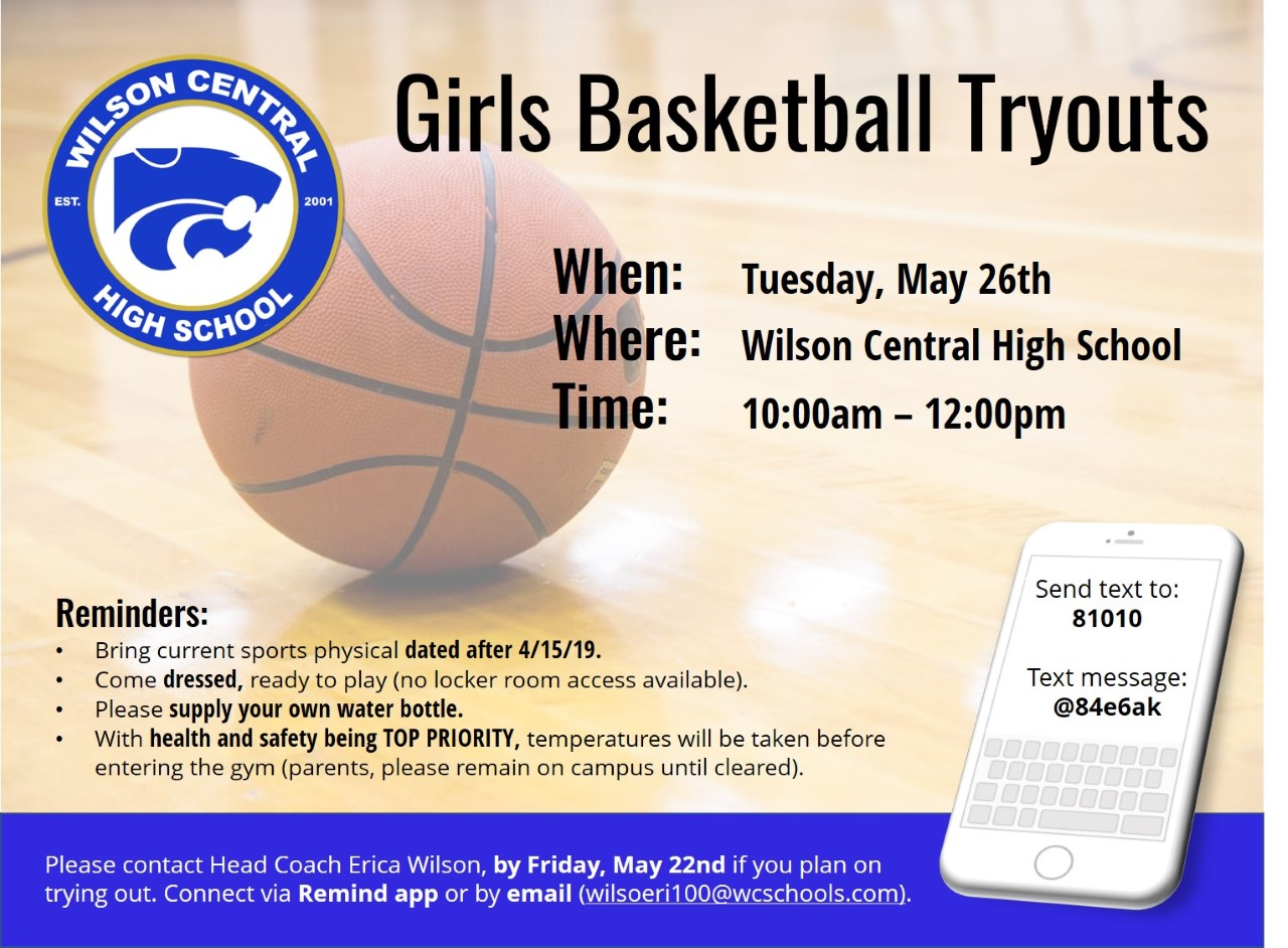 Wilson Central HS GIRLS Basketball Tryouts 2020-2021 May 26