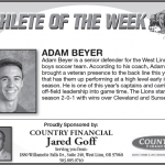 Athlete of the Week 9-10 – Adam Beyer