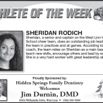 Athlete of the Week – Sheridan Rodich