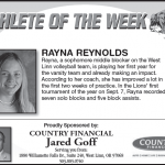 Athlete of the Week Sept. 12th – Rayna Reynolds