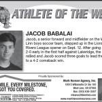 Athlete of the Week – Sept. 19th – Jacob Babalai