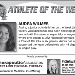 Athlete of the Week – 10 – 3 – Audra Wilmes