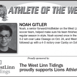 Athlete of the Week – Oct. 31st – Noah Gitler