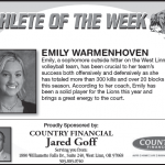 Athlete of the Week – Oct. 31st. – Emily Warmenhoven