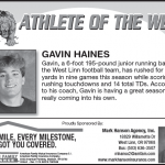 Gavin Haines – Athlete of the Week – Nov. 7th