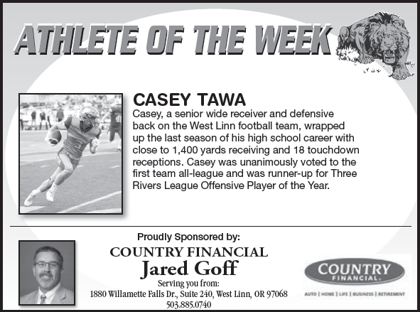 Athlete of the Week – Casey Tawa  – Nov. 28th
