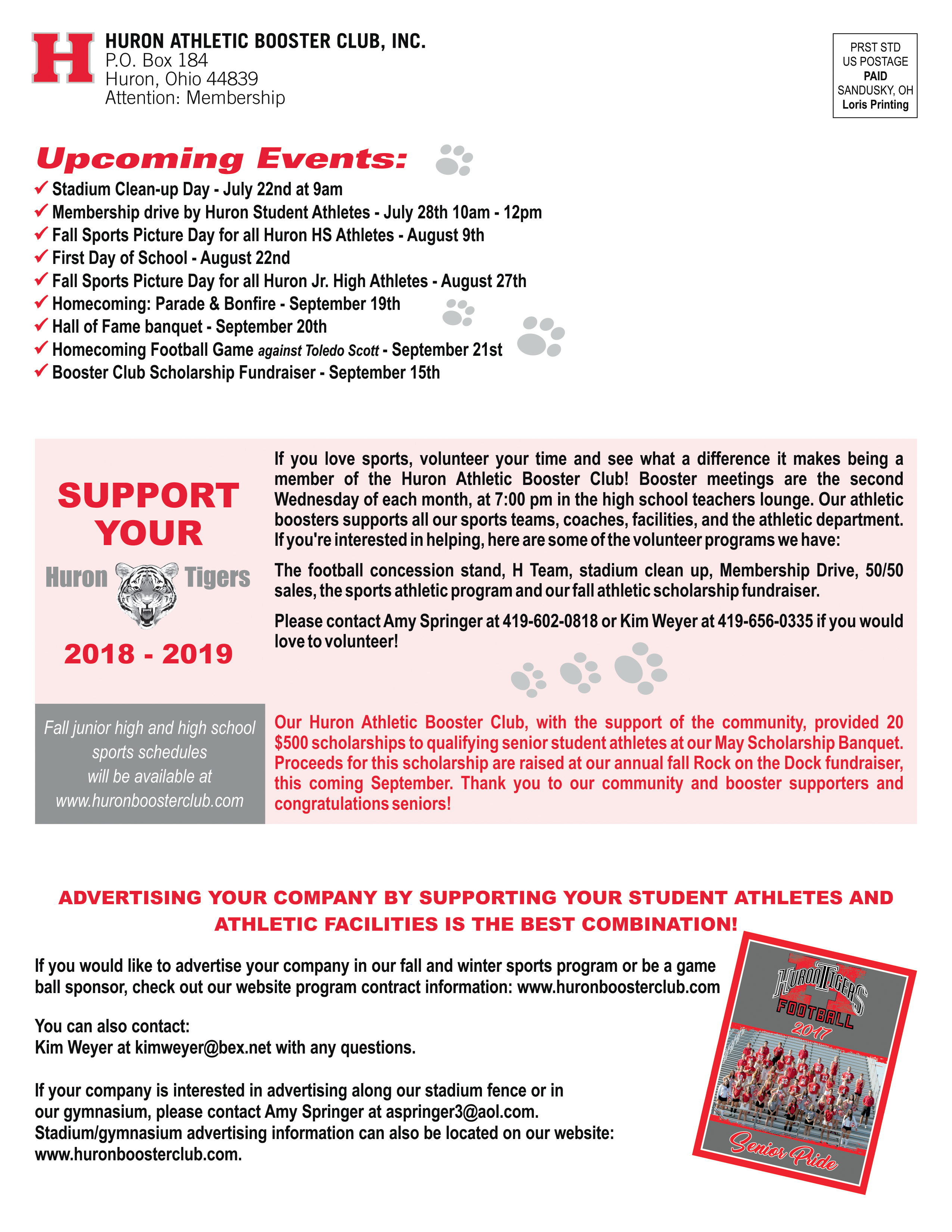 Huron Booster Drive and Upcoming Events
