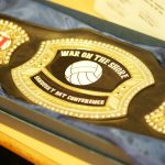 "Varsity Volleyball Keeps the ""WAR ON THE SHORE"" Belt"