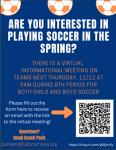 Soccer Virtual Interest Meeting Thursday, 11/12