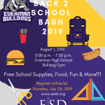 Back To School Bash!! Come visit the Everman Athletics booth!