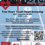 FREE Heart Screening: September 28th @ Wilkerson Greines Activity Center from 8 AM – 1 PM.
