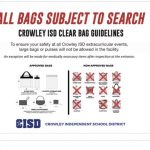 Crowley ISD Clear Bag Guidelines: Boys & Girls Basketball Game
