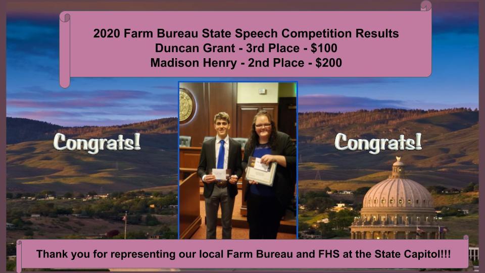Farm Bureau State Speech Results