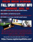 Fall Sports Tryout Info