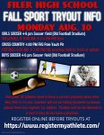 Fall Sports Tryout Info