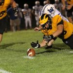 "#68 Jonathan Beckley Recovers a Fumble Versus LaVille at ""The Pit"" at Pioneer Junior-Senior High School"