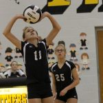 #11 Blair Grigsby Sets the Ball for a Pioneer Hitter Versus Rochester at Pioneer Junior-Senior High School