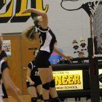 #23 Carlie Morris Maneuvers to Take a Middle Swing Versus LaVille at Pioneer Junior-Senior High School