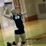 #28 Mackenzie Walker Exudes Self-Focus During Her Jump Serve at the Harrison (West Lafayette) Classic