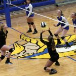 #25 Mikenna Landis Executes a Quick Set to Middle Hitter #8 Madison Blickenstaff at North White Middle-High School
