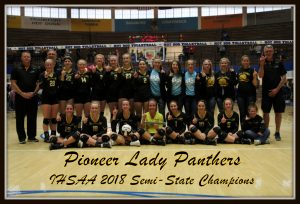 Pioneer Lady Panthers – 2018 IHSAA Volleyball Class A Semi-State Champions