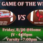 Game of the Week – Football v. Hoover, Friday @ 7:00pm, Home