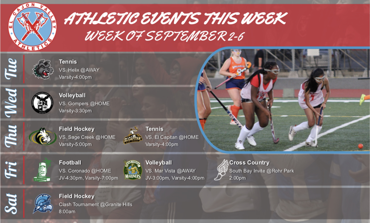 Athletic Events This Week (September 3 – 7)