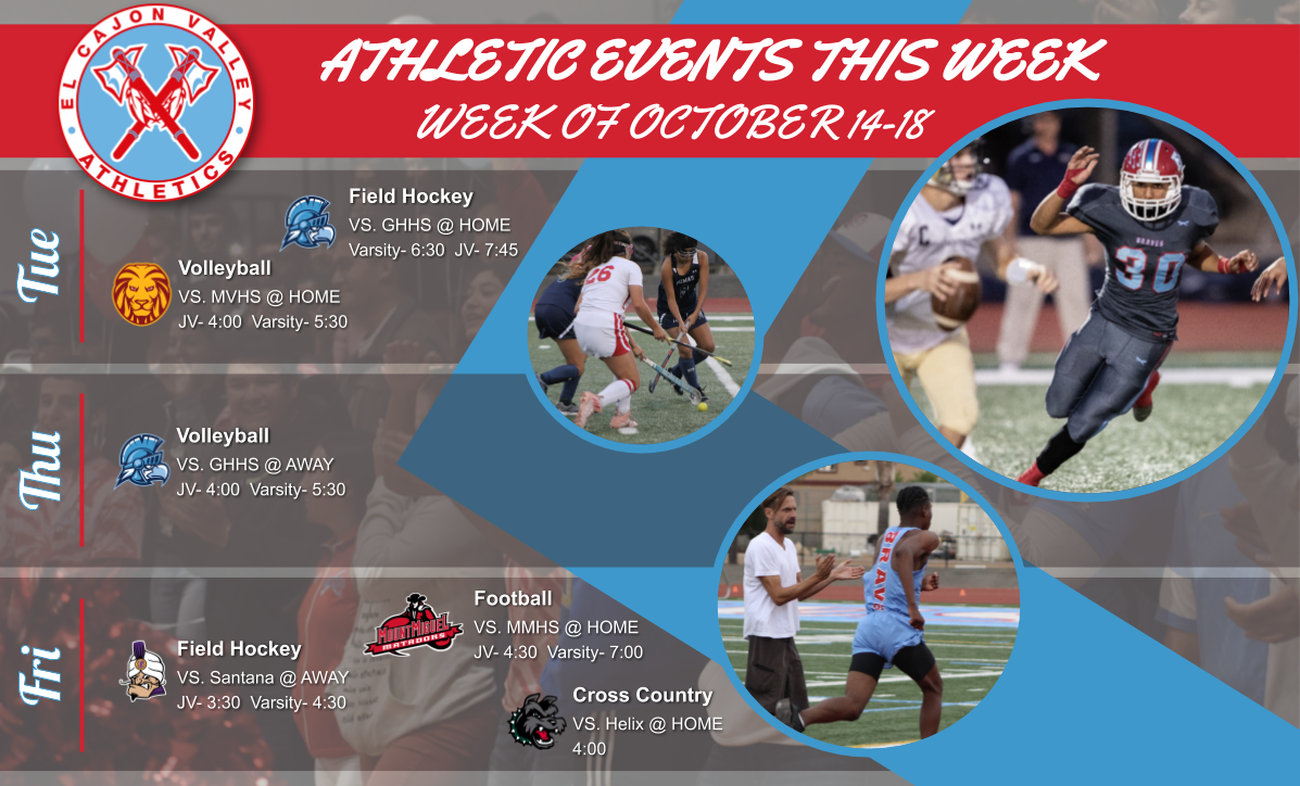 Athletic Events This Week (October 14-19)