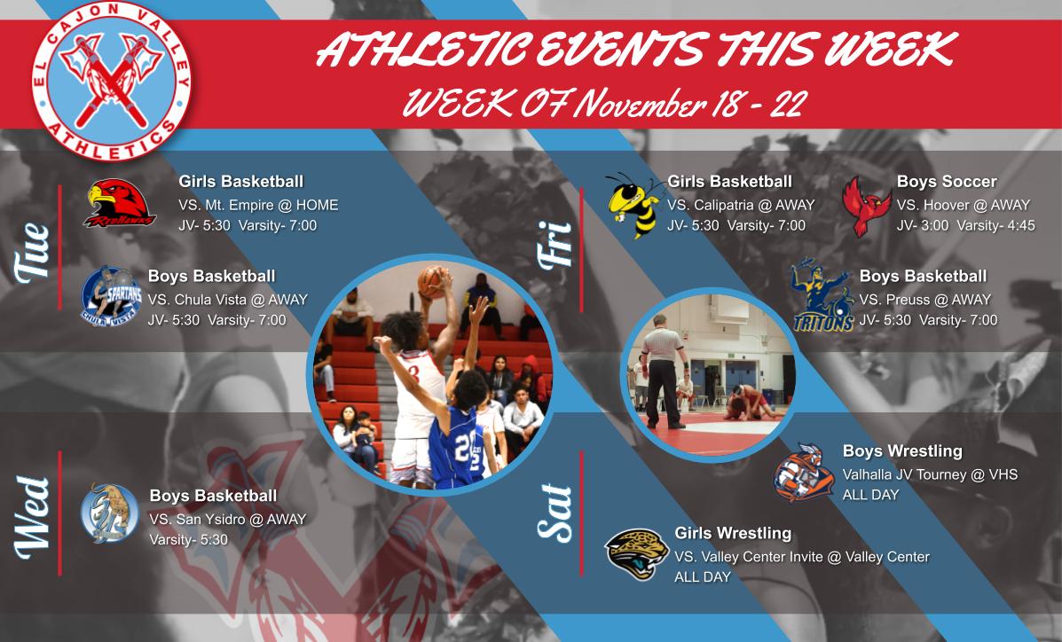 ECV Athletic Events This Week (November 18-23, 2019)