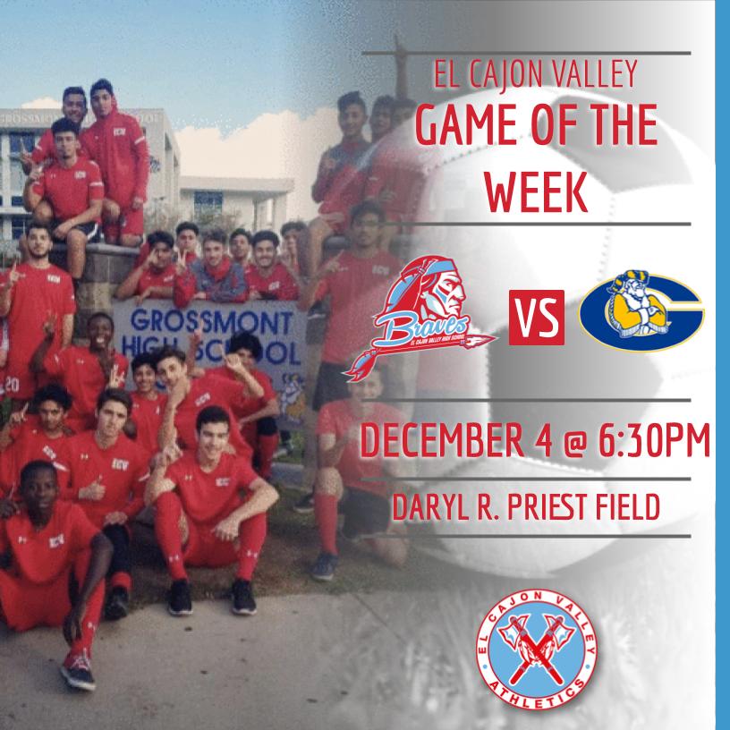 ECV Game of the Week: Boys Soccer v. Grossmont (Wednesday, December 4, 2019 @ 6:30pm)
