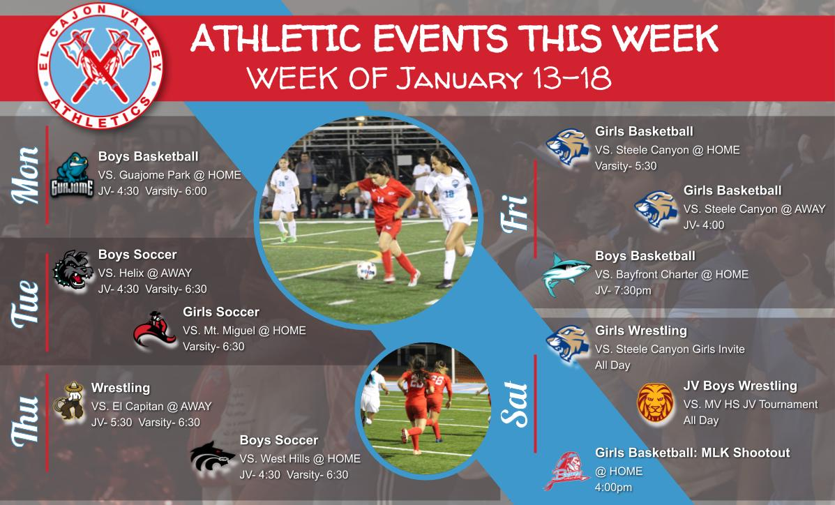 ECV Athletic Events This Week (1/13-1/18)