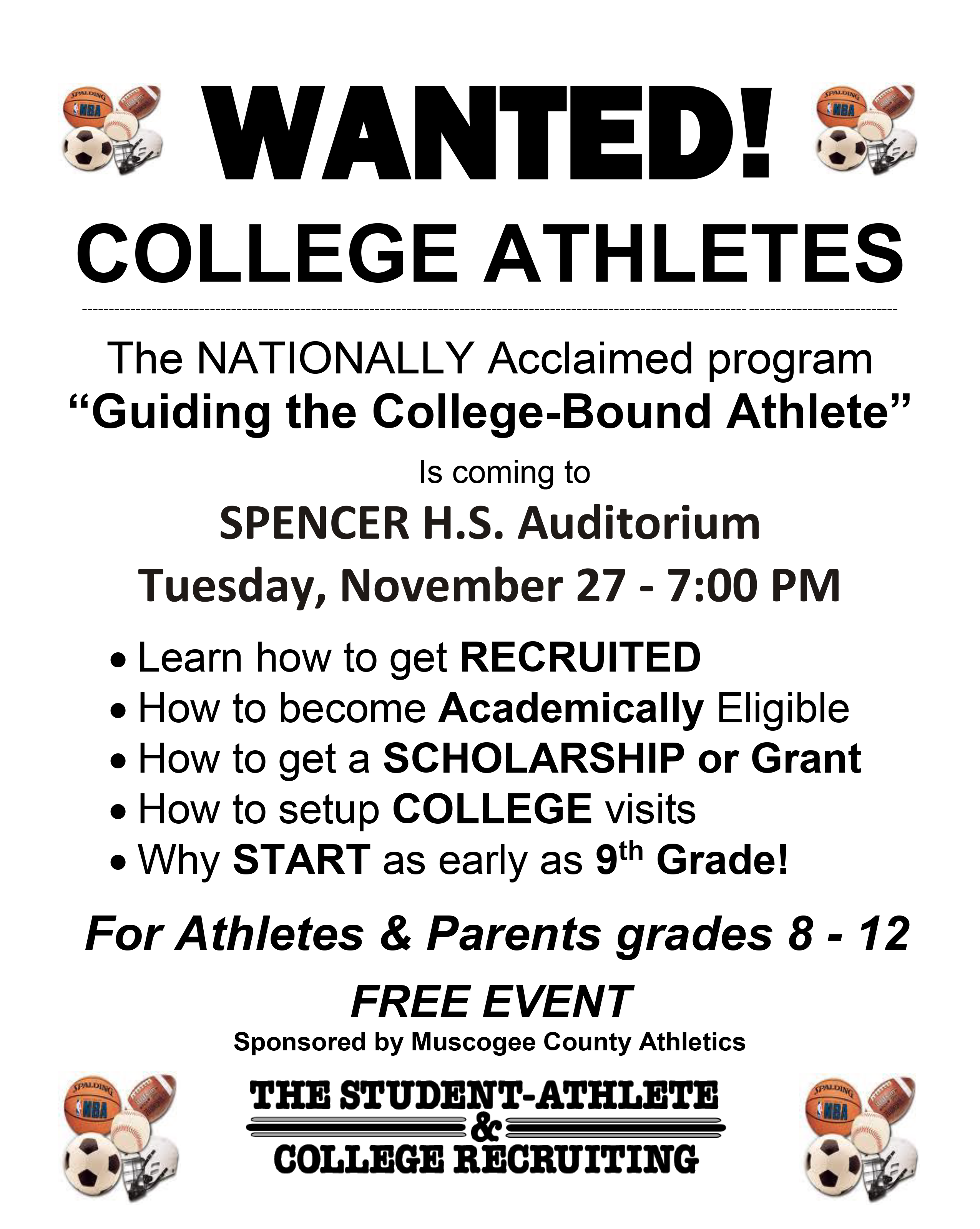 WANTED – College Bound Athletes