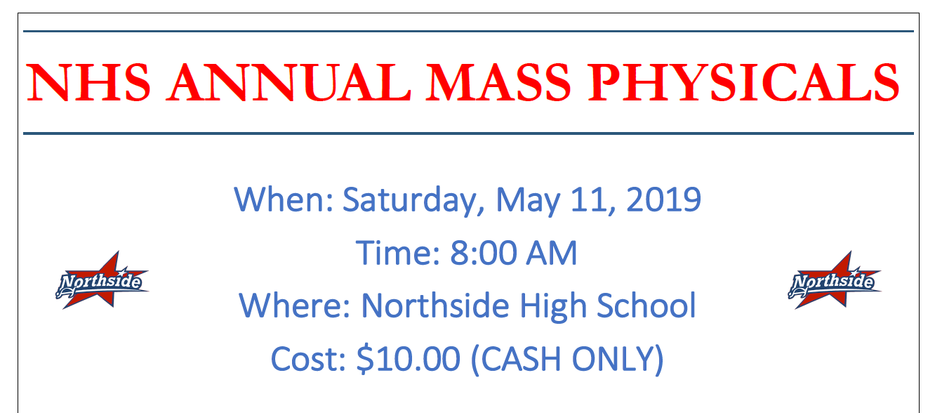 Sports Physical Day May 11th @ 8am