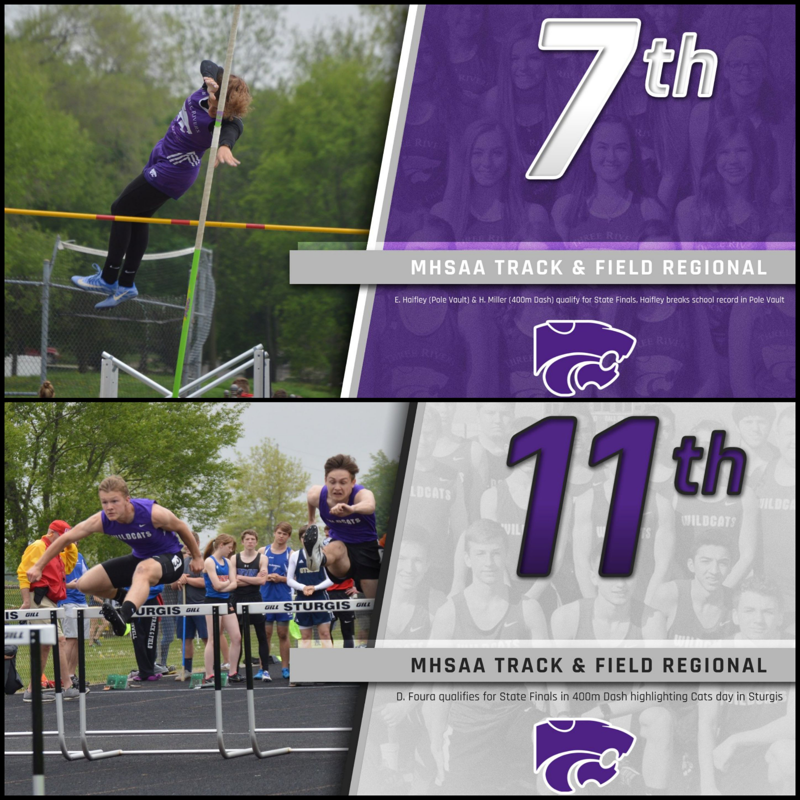 Track & Field: Foura, Haifley, Miller qualify for State Finals; Haifley breaks school record in pole vault
