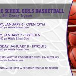 Middle School Girls Basketball: Tryouts set for Jan. 6-8