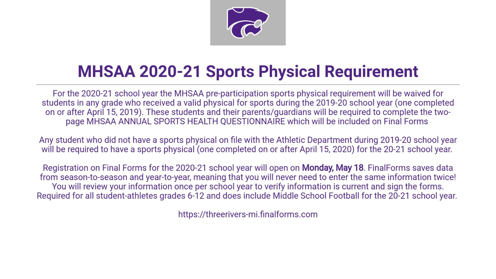 MHSAA announces 20-21 pre-participation sports physical requirements