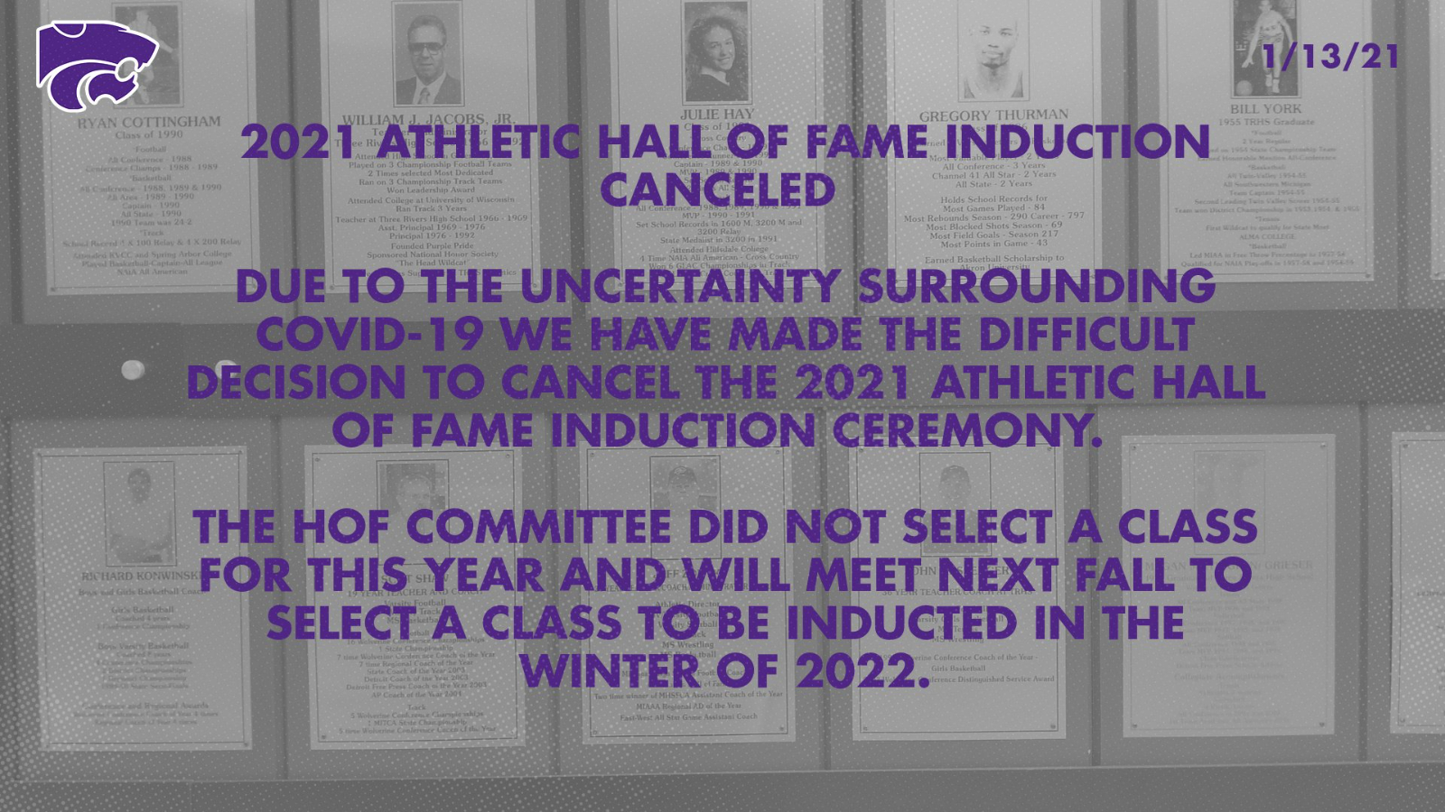 2021 Athletic Hall of Fame Induction Canceled