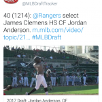 Anderson Selected in MLB Draft