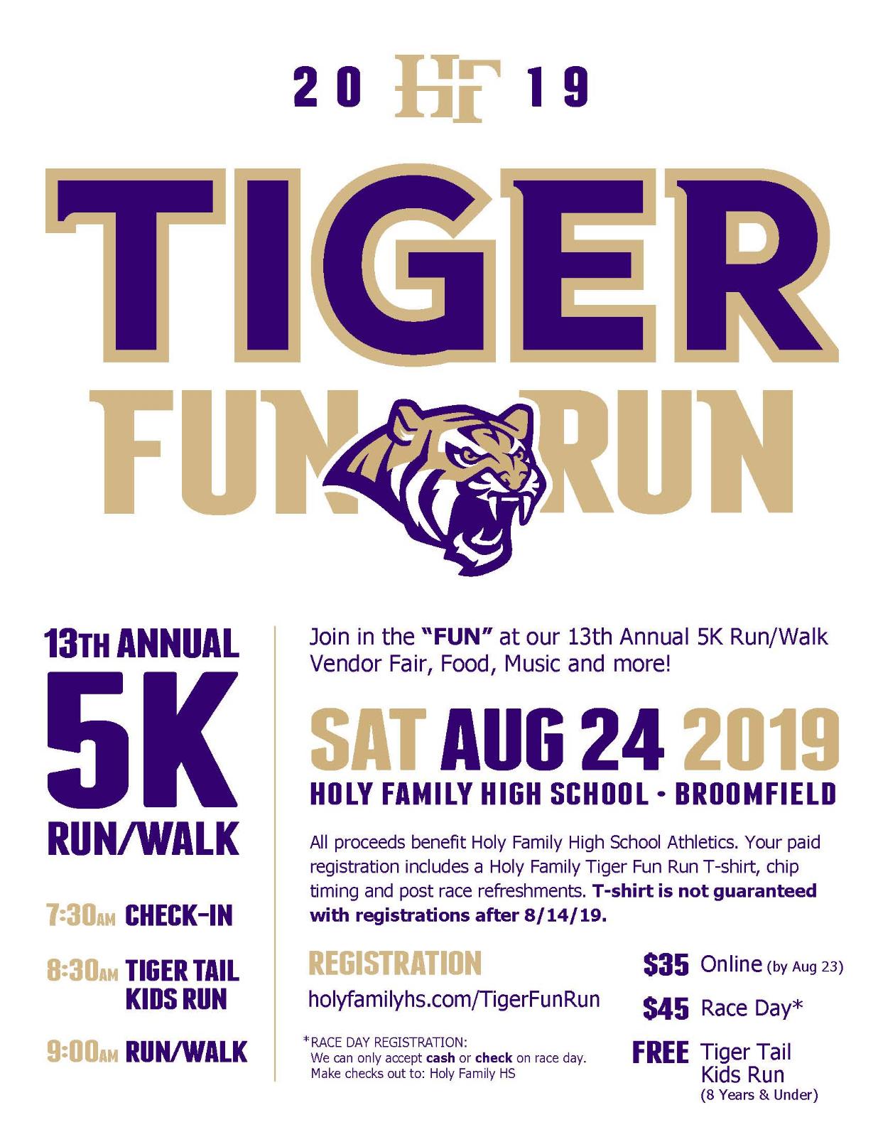 13th Annual Tiger Fun Run – Register Today!