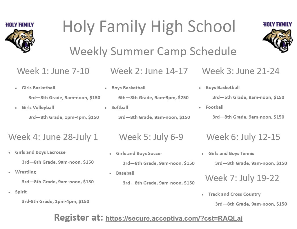 Summer Camp Schedules and Info
